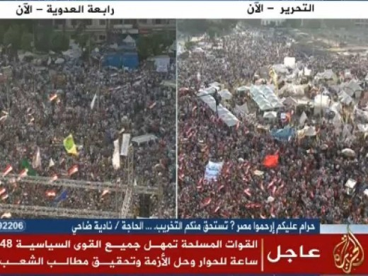 Rabiaa Adawiya square on the left,pro-Morsi rally. Tahrir square on the right,Anti-Morsi rally.The ridicule thing:Army chose to stand with the right side!