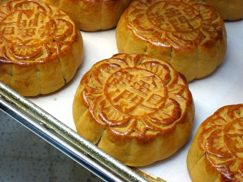 Moon cakes, ready to enjoy! A special mold makes the designs on top. Some Chinese markets carry them.