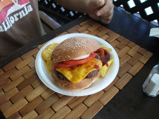 My husbands yummy cheeseburger at the sports bar. Located right next to the main pool, it was the perfect place to grab a quite bit and duck out of the sun for a bit.