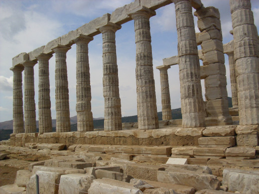 The Doric columns of the temple of Poseidon