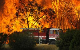 Brave fire fighters at the fire front Photo by Andrew Brownbill AAP