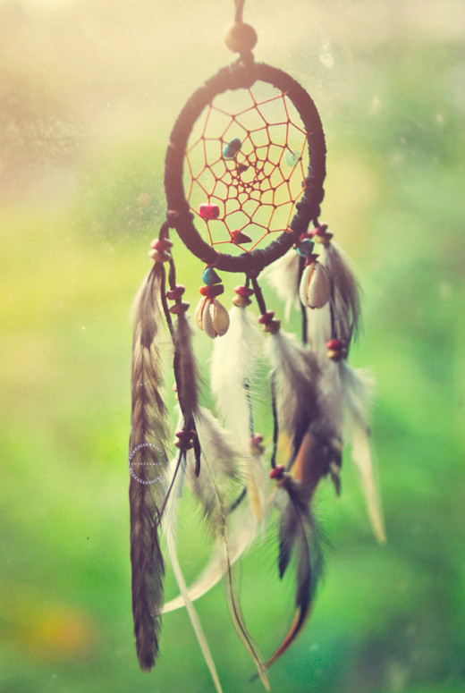 (Dream Catchers are often adorned with things such as shells, beads, stones, and feathers. )