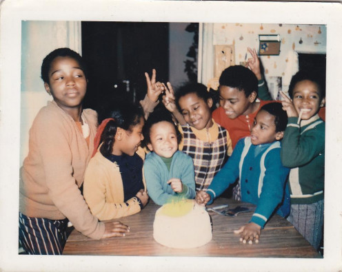 My cousin is on the far right in the green sweater.