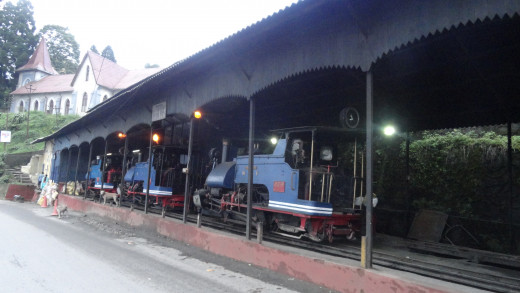 Toy train Engine of Darjeeling stationed