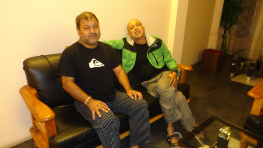 Sarma Da and Apurba in the first floor lobby of our hotel in the last night
