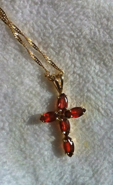 Garnet and gold cross