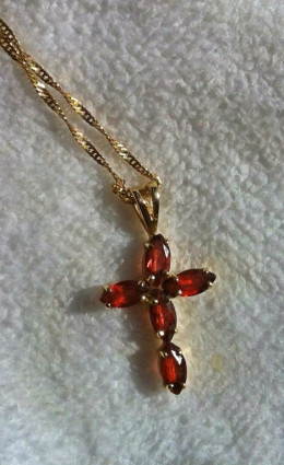 Garnet and gold cross