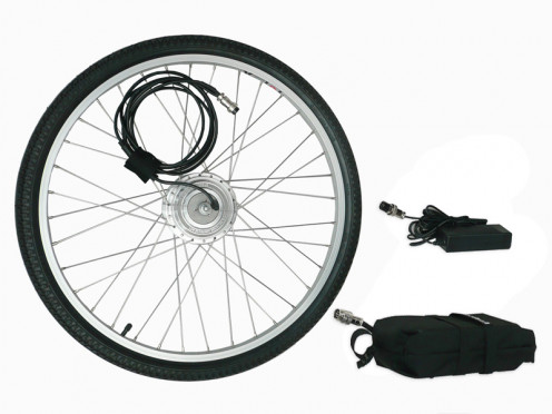 The kit comes with a replacement front wheel for your old bike, with the simple attachments to the battery pack.  It only takes a few minutes to install.