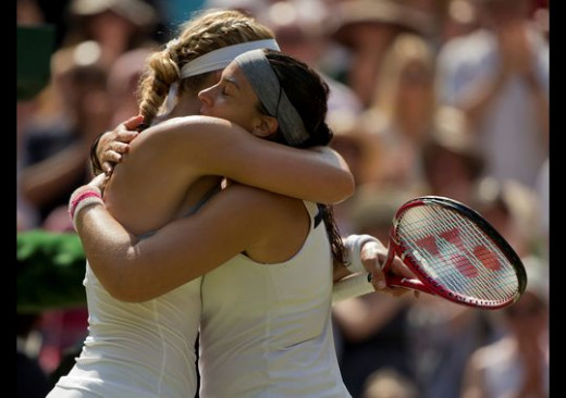 When Bartoli won Wimbledon, she genuinely embraced Lisicki. The two even walked with their arms around each other as they went off the court. Way to go Bartoli for reaching out!