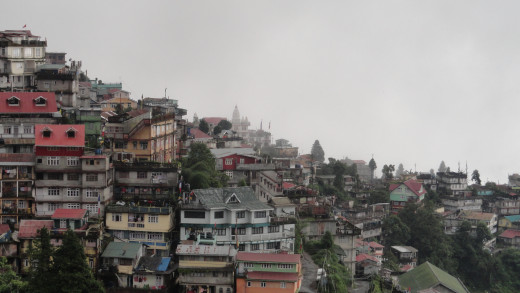 The landscape of Darjeeling from the terrace of the hotel