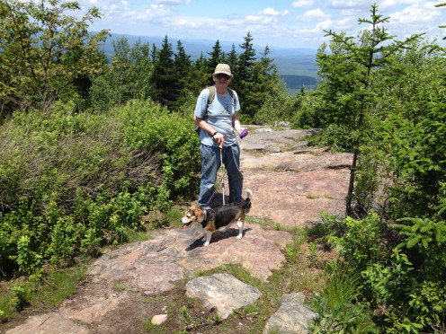 Ken and Bagel on the trail to Joanne Bass Bross Bench with a lookout