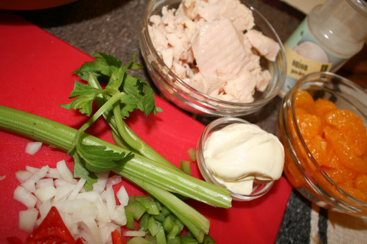 I used only half of the mayo in the picture.  1 T. was enough to moisten the chicken salad.