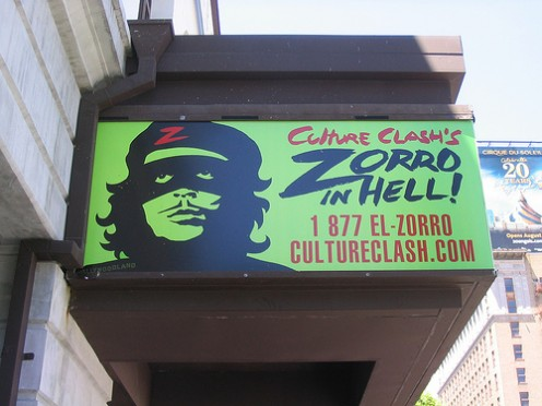 """'Zorro in Hell', playing at the theater, rather a tribute to Ricardo Montalban's early role in """"Don Juan in Hell."""" From Suffrboy @ flickr."""