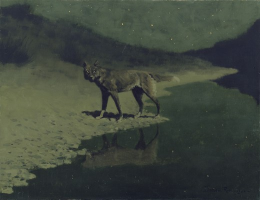 Moonlight, Wolf, Frederic Remington (c. 1909)