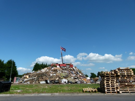 This is just the start of the making of the bonfire - see this bonfire burning - see below for video.