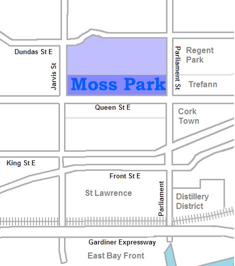 Map location of Moss Park, Toronto