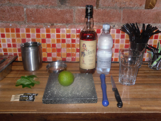Note: This photograph shows all of the ingredients needed for a Sailor Jerry's Mojito, the rest of the hub is based on White Rum.