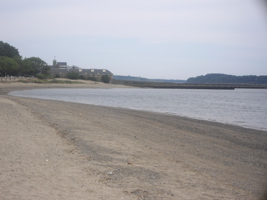 The beach, with the Community Center in the distance