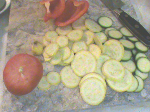 Squash, peppers and tomatoes