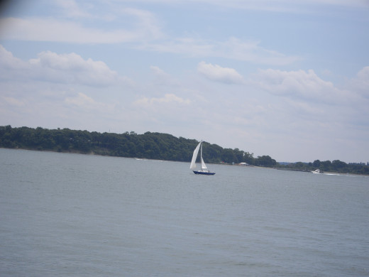 Sailboat over by one of the Harbor Islands