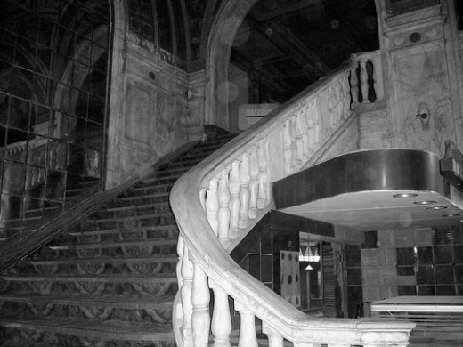 A look  at the main stair case in the Loews Poli Palace Theater, Bridgeport, Ct. (see the orbs)