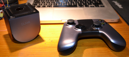 The Ouya video game console and controller