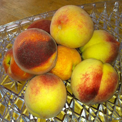 Both red globe and white peaches were used in this recipe.