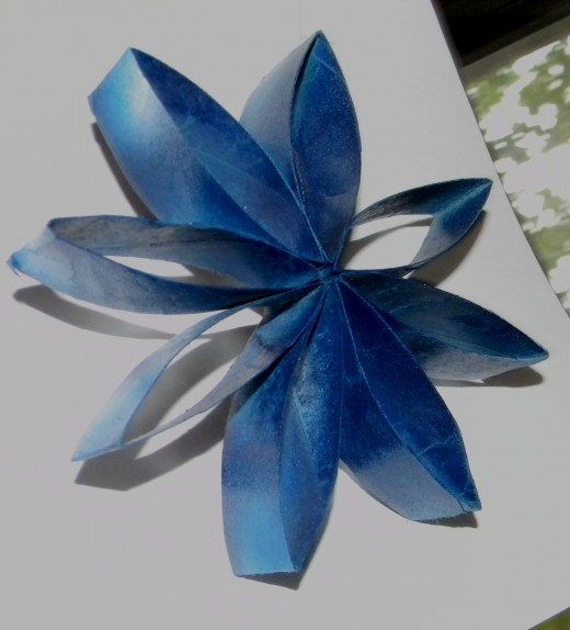 Flower with blue and white layered for depth.
