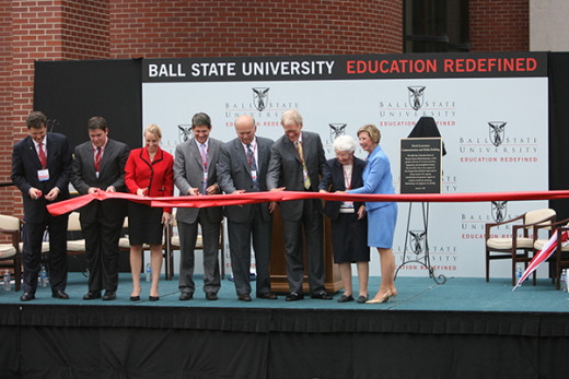 Ribbon cutting for the David Letterman Communication and Media Building at Ball State University