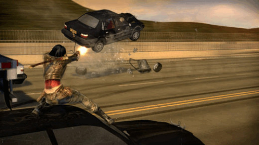 One of the best animated and tense scenes of the game; Rubi hops from car to car to take down her target!