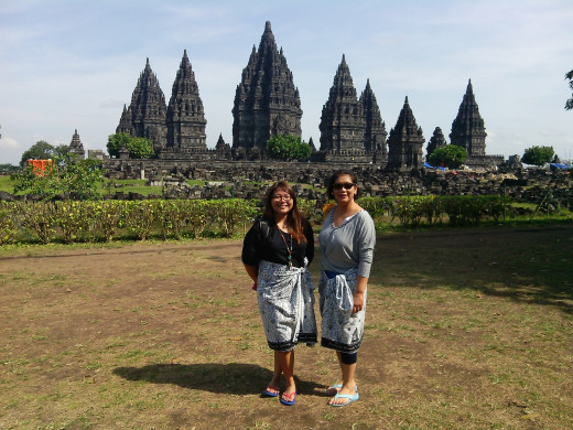With the prambanan temple compound in the background. :)