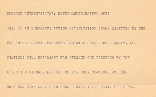 This is the message the teletype printed out.