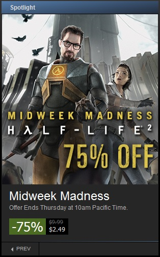 The midweek madness sale offers huge discounts on some very popular games.