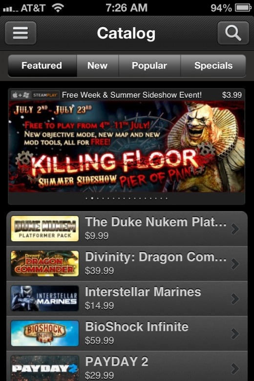 Screenshot of the Steam mobile app.
