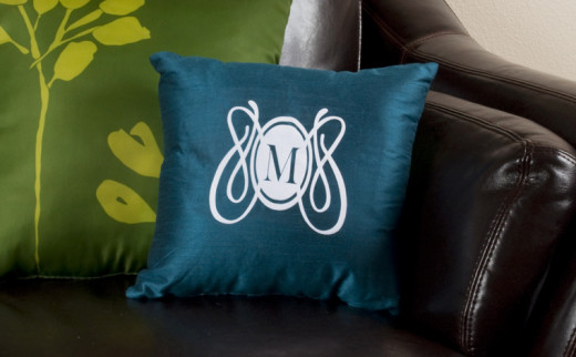 Intricate design and text on a pillow. Just one of the things you can do with the Silhouette.