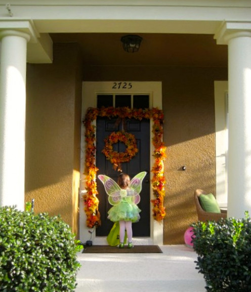 Front doors are a great background for Halloween photos.