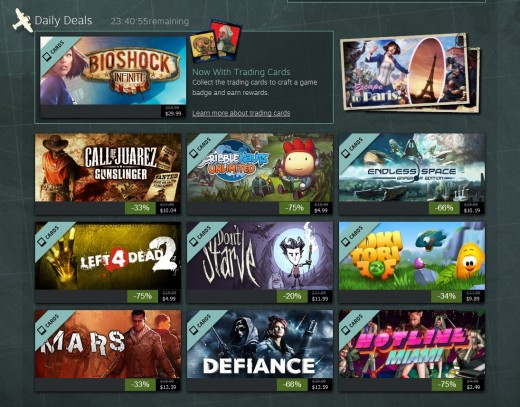 Daily deals which offer nice discounts on a variety of games.