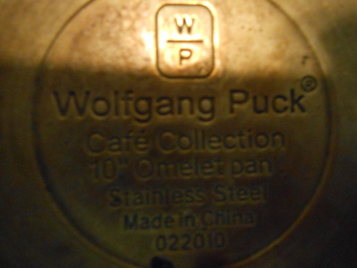 The bottom of my Wolfgang Puck stainless steel skillet.  I have had this set for more than 10 years and could not recommend a better set of cookware.  It is long lasting, cooks evenly, and gives a golden brown coating to fried foods.