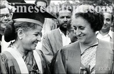 M S Subbulakshmi shares a short moment with Prime Minister Mrs Indira Gandhi (right) after she was conferred honorary degree of 'Doctorate of Letters' by Delhi University