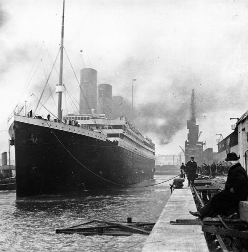The misty, evocative, eternally tragic Titanic, docked at Southampton in 1912.