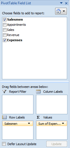 Use Field List to quickly change the focus of your pivot table in Excel 2007 or Excel 2010.
