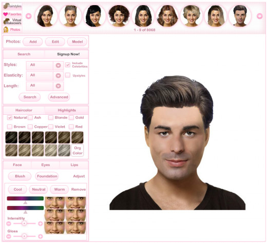 A virtual hairstyle makeover to try various hairstyles.