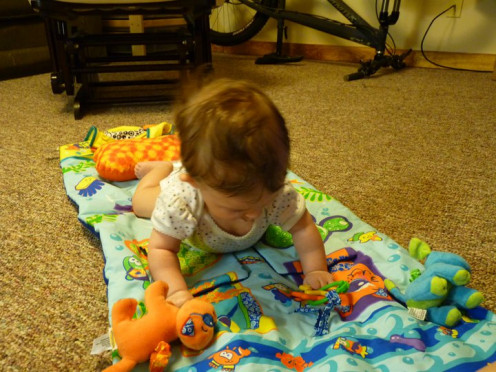 Tummy time mats do seem like a good idea, but they are not necessary. My daughter didn't like this mat too much because the toys were attached so she was always frustrated and angry when she couldn't pick up the toys she worked so hard to get.