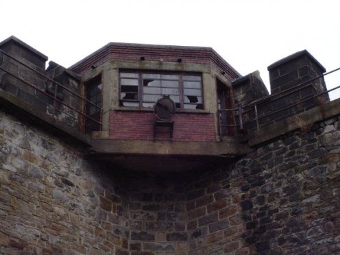 Courtyard watchtower where a figure, possibly a former guard, has been spotted