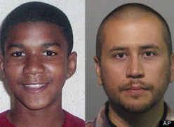 TRAYVON MARTIN (left) and GEORGE ZIMMERMAN (right)