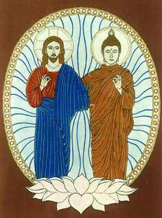 An inspired image of Jesus and Buddha given the similarities of their lives and scriptures leading many to believe that Jesus had to be in India at some point