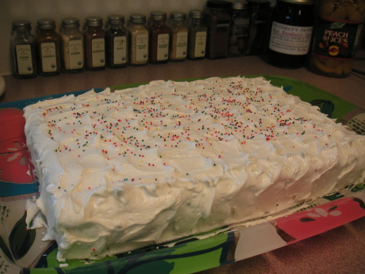 Carrot cake made in a 13 x 9 inch sheet pan