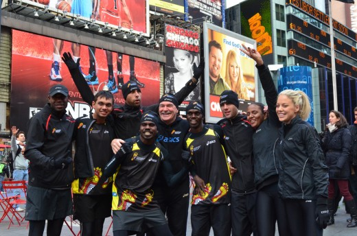 Rob de Castella with member of the IMP team at the New York Marathon