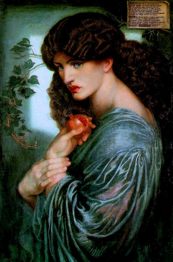 """""""Persephone"""", a 1874 painting by Dante Gabriel Rossetti. Greek goddess Persephone represents a female archetype of a mystic."""