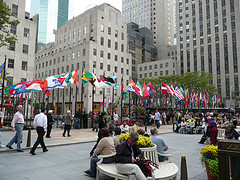 Rockefeller Plaza showcases approximately 200 flags representing the member contries of the the United Nations
